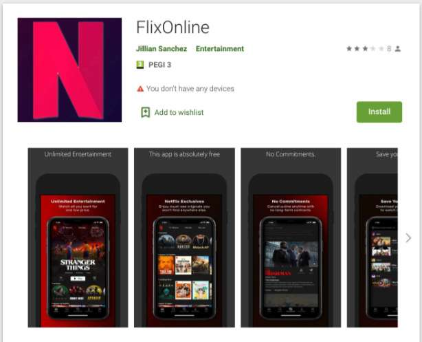This fake app uses Netflix logo and images but it is a virus.  © Checkpoint