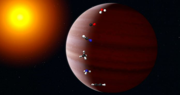 The gas giant depicted directly around the young star