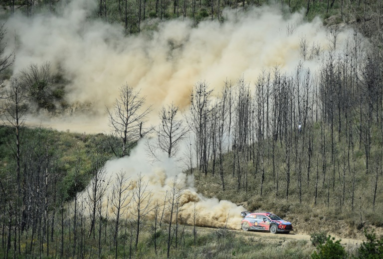 French driver Sebastian Loeb drives his Hyundai i20 WRT with his Monacon co-driver Daniel Elena during the SS2 phase of the rally near Portugal on May 30, 2019.