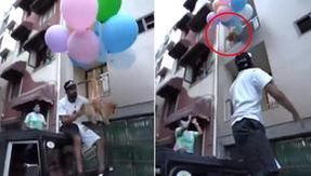 He made his dog fly by tying him to balloons filled with helium, and arrested an Indian YouTuber