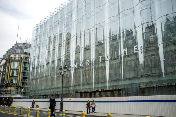 La Samaritaine's glass façade in February