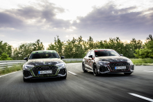 Audi RS 3 Kyalami green camouflage and Audi RS 3 Sportback Tango Red