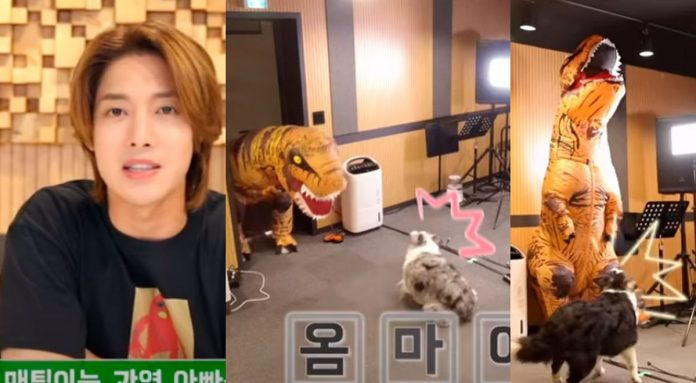 Kim Hyun Joong scared his dogs by disguising himself as an inflatable dinosaur