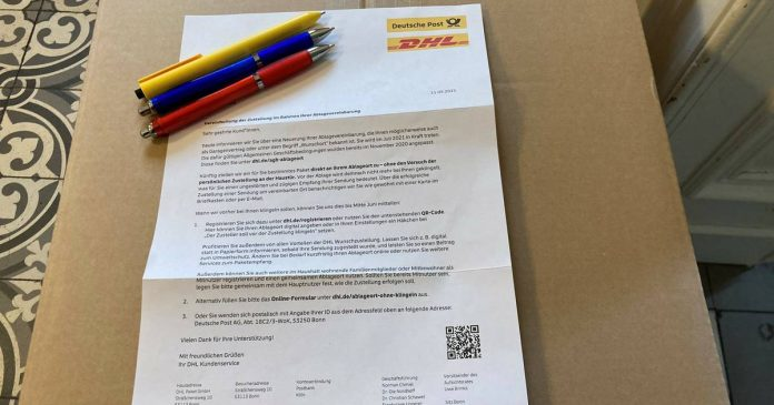 The messenger no longer has to ring the bell in every case: DHL changes parcel delivery