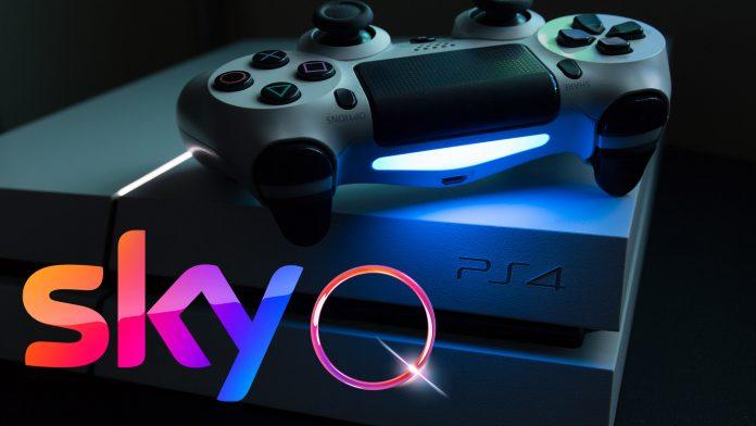 Schwach beleuchtete PS4 mit buntem Sky-Q-Logo davor