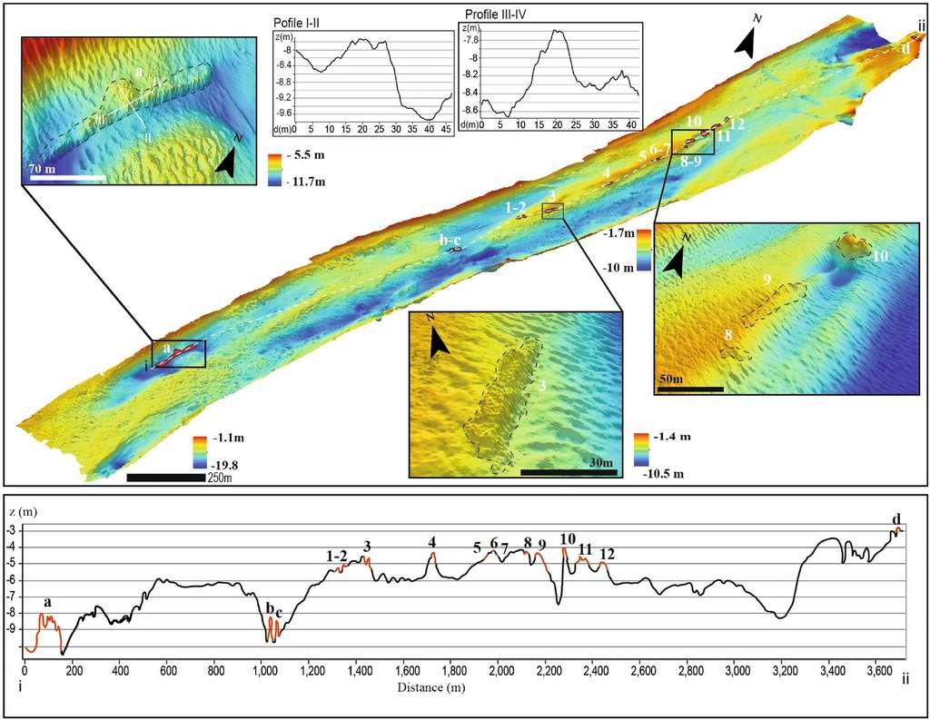 The lower part of the Treporti Canal was explored and mapped using sonar.  © Madricardo et al., 2021