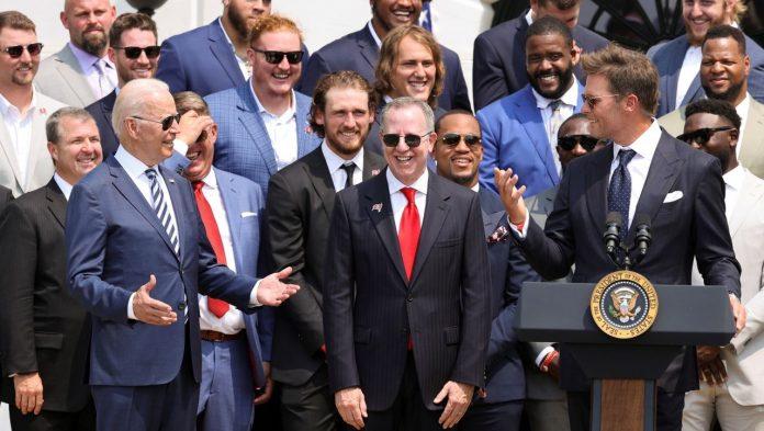 Tom Brady and Joe Biden joke about Donald Trump's visit to the White House
