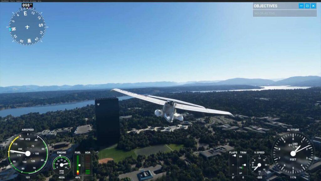 Microsoft Flight Simulator presents a very detailed landscape.