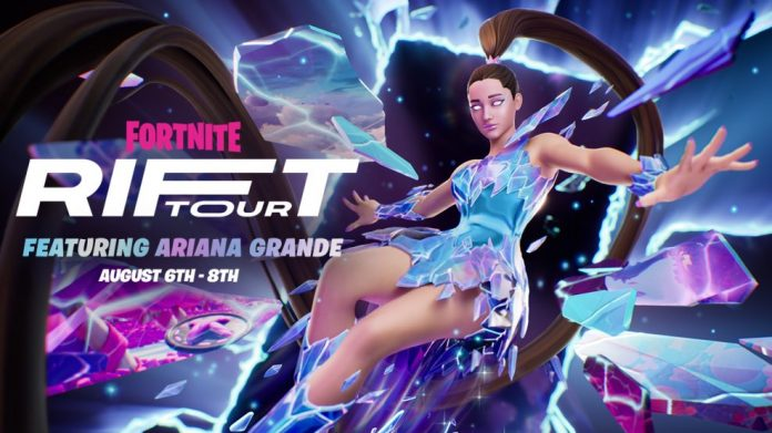 Ariana Grande arrives at the Fortnite stage in August