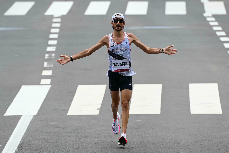 Frenchman Nicolas Navarro during the Tokyo Olympics Marathon, August 8, 2020 in Sapporo