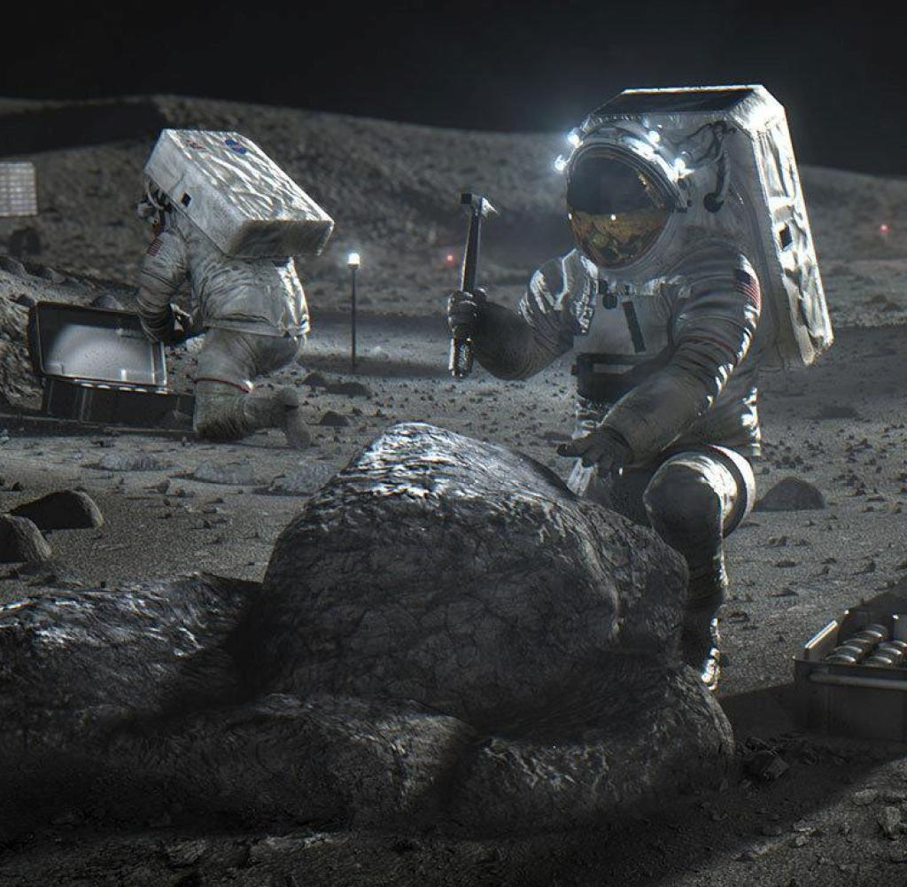 This April 2020 illustration made available by NASA depicts Artemis astronauts on the lunar surface.  On Thursday, April 30, 2020, NASA announced the three companies that will develop, build and fly lunar landers, with the goal of returning astronauts to the moon by 2024.