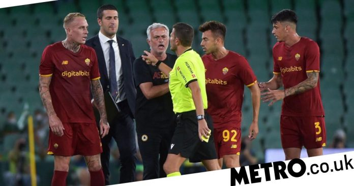 EM - Jose Mourinho sent off after Roma received three red cards in a friendly before the series