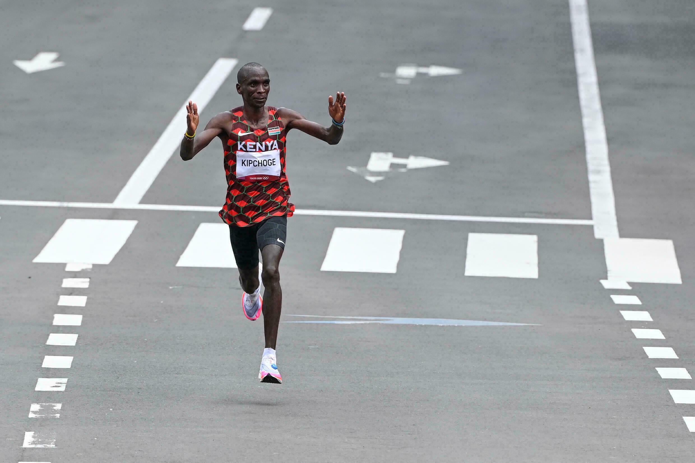Kenyan Eliud Kipchoge during the Tokyo Olympics Marathon, August 8, 2021 in Sapporo