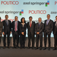 Portrait of leaders Axel Springer and Politico while announcing the creation of Politico Europe.