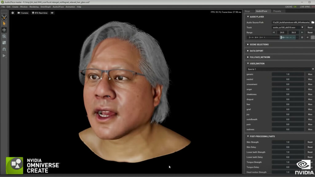 Lip synchronization by artificial intelligence on the clone of Jensen Huang