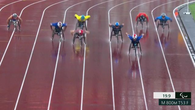 At the age of 50, Pierre Fairbank is still around.  The French won the bronze in the 800m T53 behind Canadian Brent Lakatos and Thailand's Pongsakorn Baio.  This is his ninth Paralympic medal since the Sydney Summer Games.