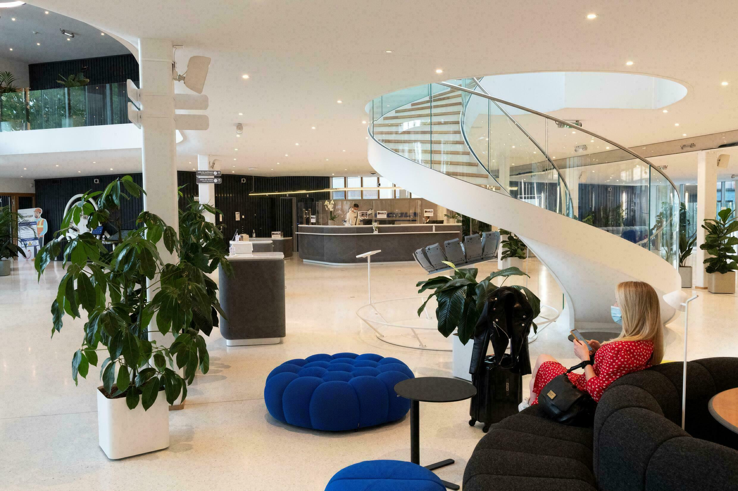 The reception hall of the renovated Michelin headquarters, September 9, 2021 in Clermont-Ferrand