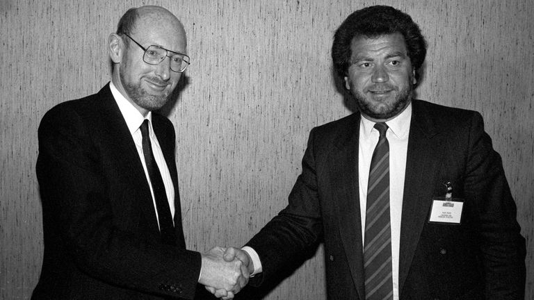 Sir Clive standing with British businessman Alan Sugar in 1986