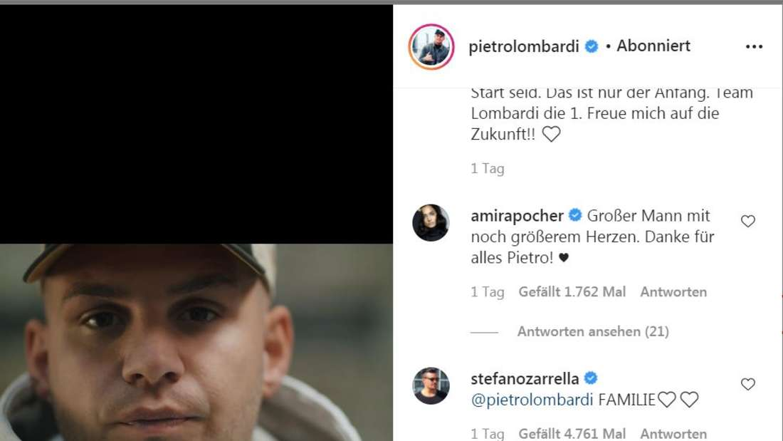 Amria Pocher commented on Pietro Lombardi's video on Instagram.