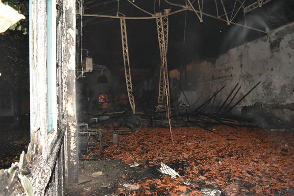 Inside the gym, after the fire was gone.