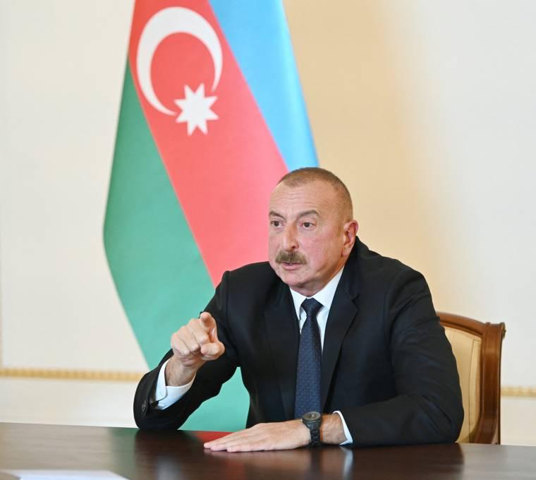 Azerbaijani President Ilham Aliyev, October 4, 2020, in Baku.  (Azerbaijani Presidency / HANDOUT)