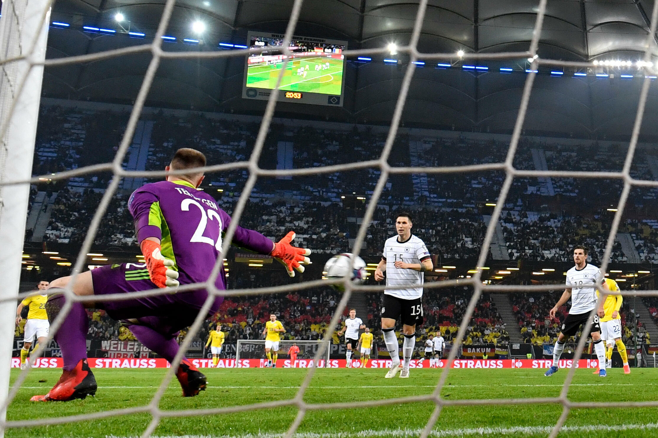 Germany goalkeeper Marc-Andre der Stegen concedes Romania's first goal as Qatar qualifies for the 2022 World Cup in Hamburg on October 8, 2021 (Zone Europe).