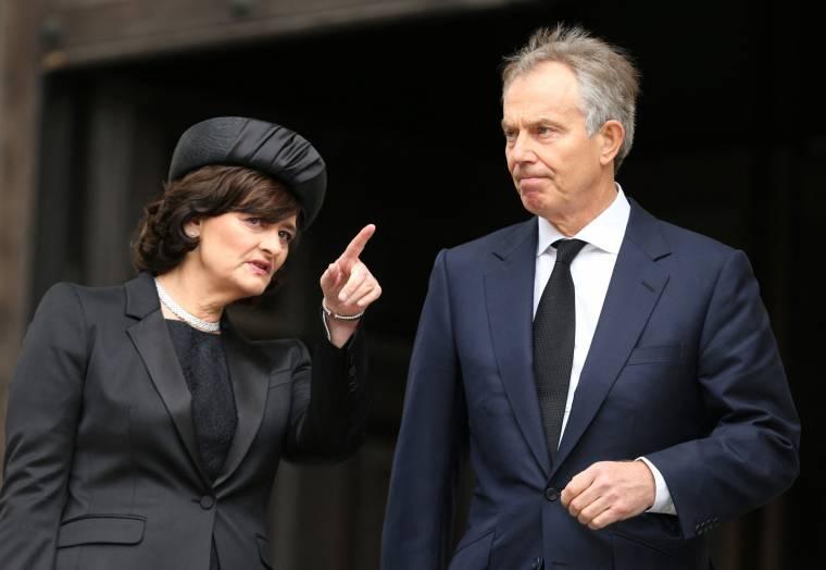 Tony and Cherie Blair, April 17, 2013, in London.  (Pool/Chris Jackson)