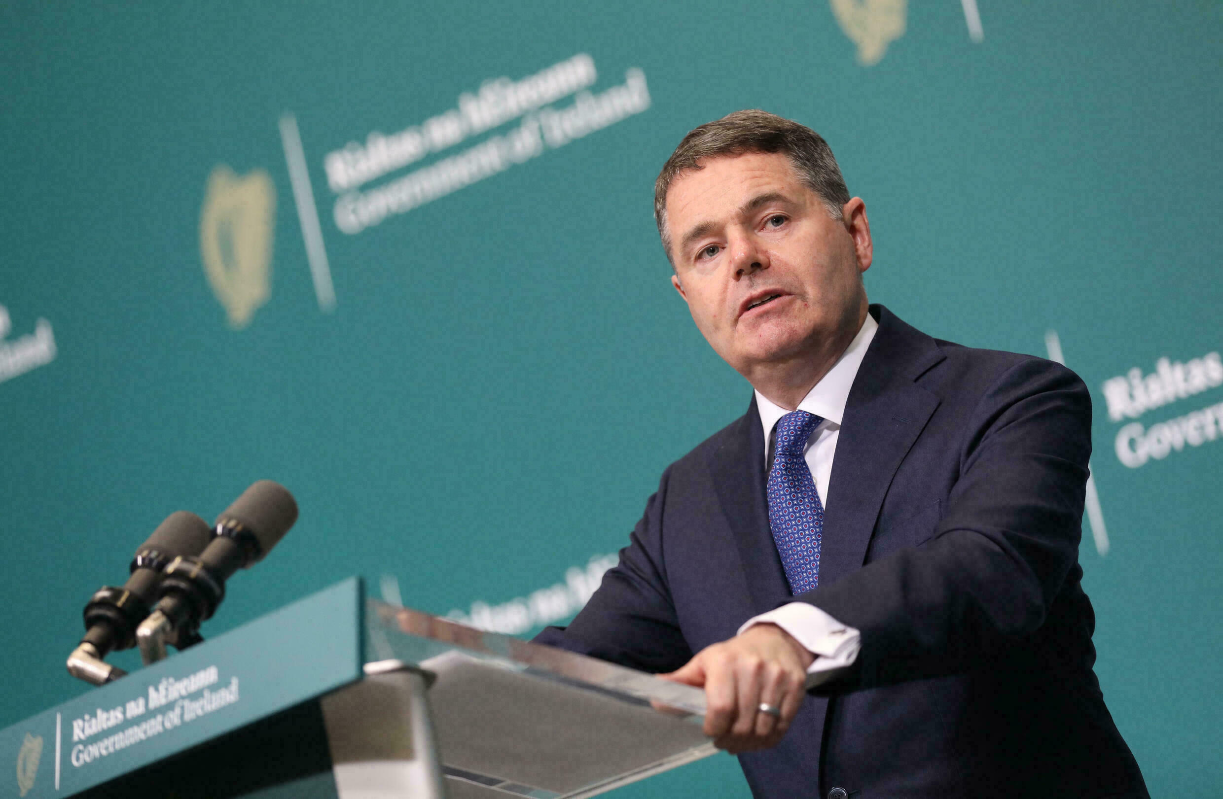 Irish Finance Minister Pascal Donohoe at a press conference in Dublin on October 7, 2021